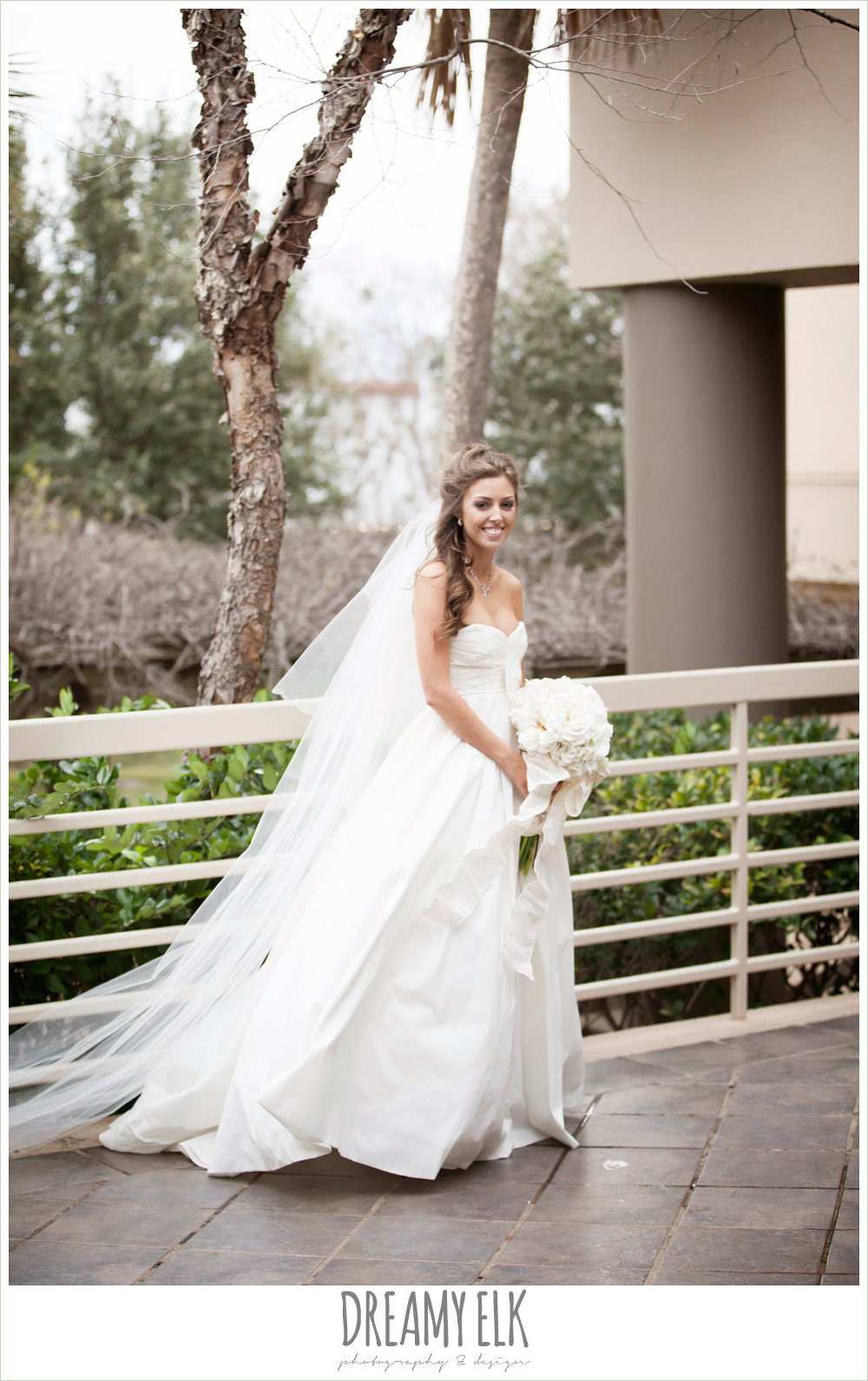 Strapless wedding dress cathedral length veil christmas wedding