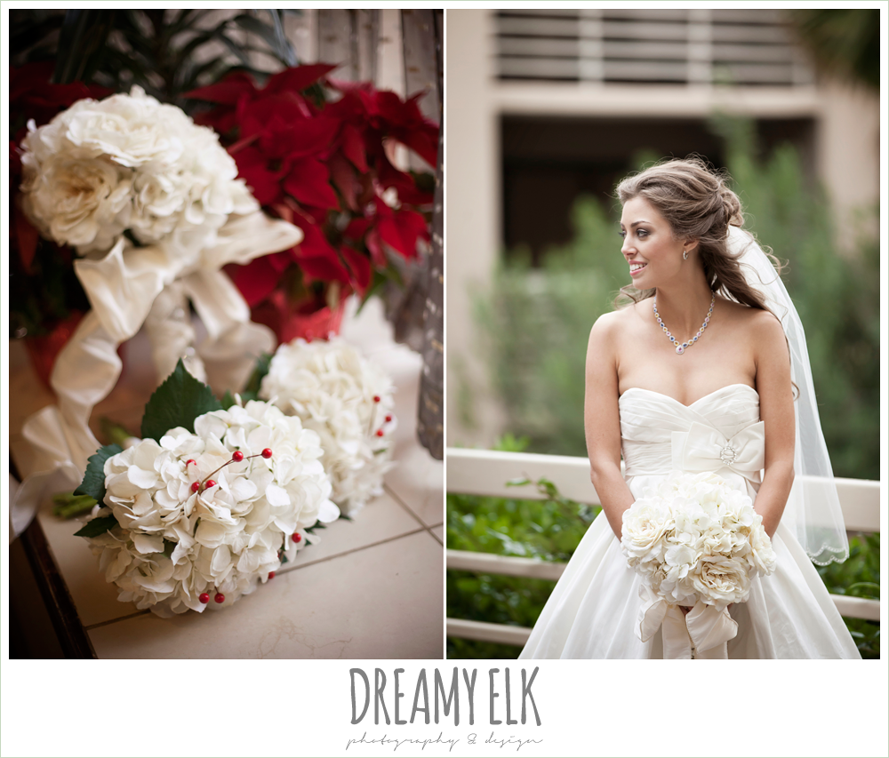 sweetheart strapless wedding, diy wedding bouquets, christmas wedding {dreamy elk photography and design} photo