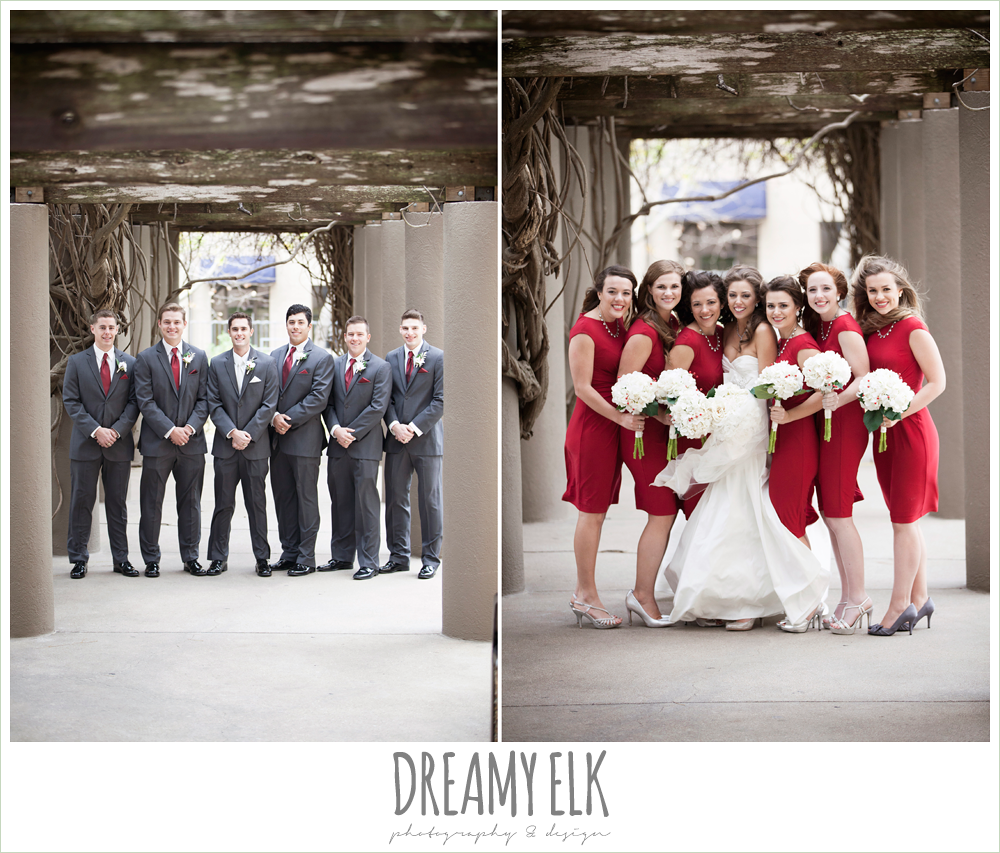 groomsmen in gray tuxes, short red bridesmaids dresses, windy and cold christmas wedding {dreamy elk photography and design} photo