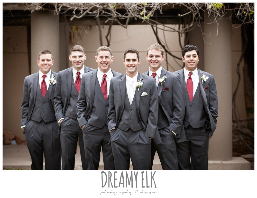 groomsmen in gray tuxes, christmas wedding {dreamy elk photography and design} photo