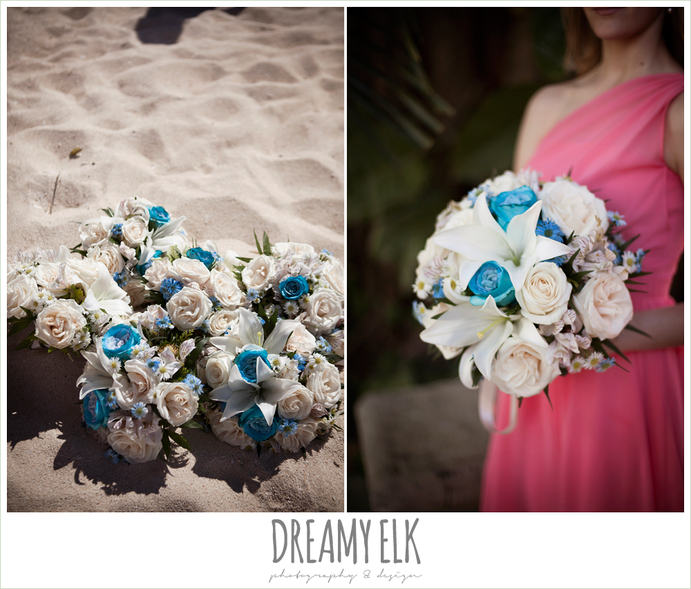 white and blue bouquet, pink bridesmaids dress, destination wedding, cozumel {dreamy elk photography and design} photo