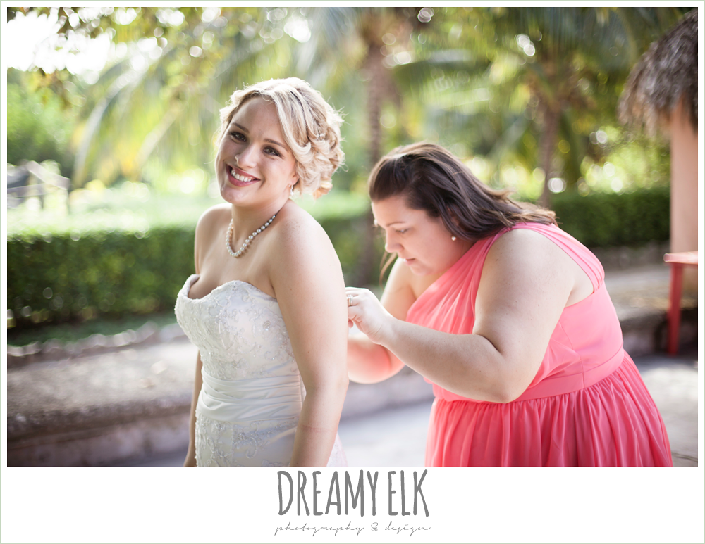 bride getting dressed, pink bridesmaids dress, destination wedding, cozumel {dreamy elk photography and design} photo