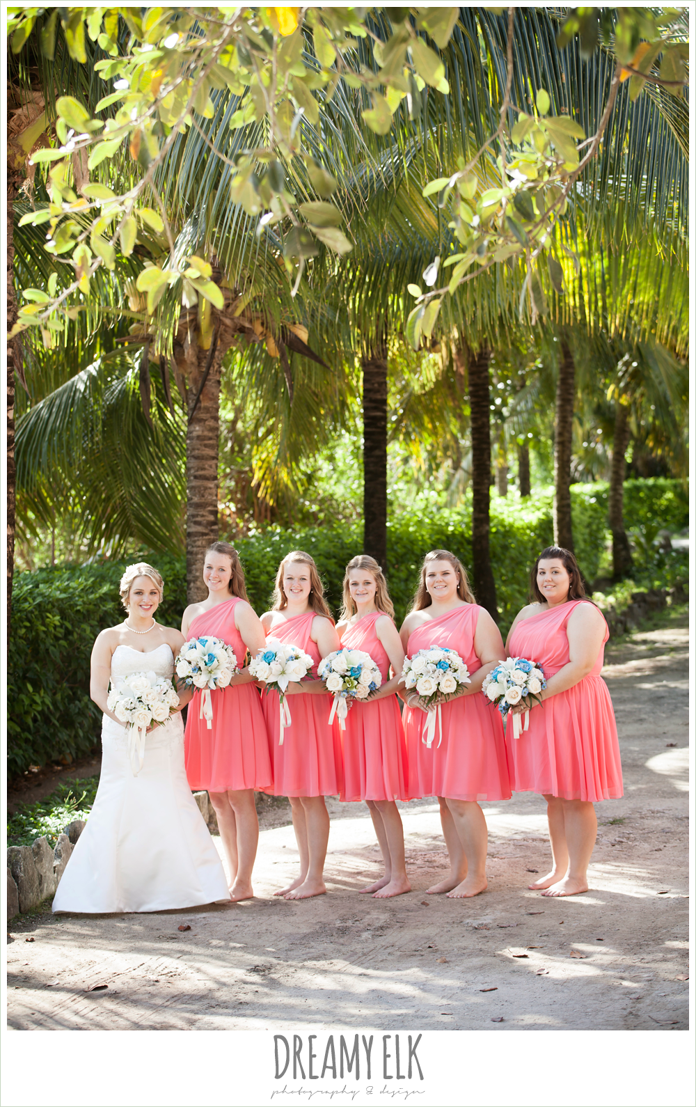 pink, one shoulder bridesmaids dresses, fit and flare wedding dress, destination wedding, cozumel {dreamy elk photography and design} photo