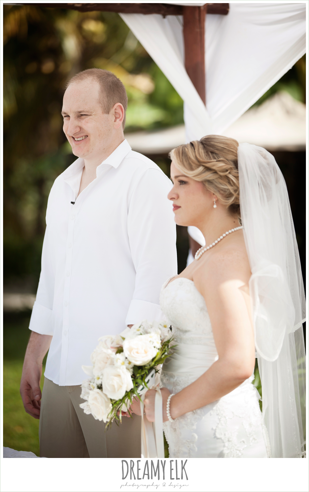 groom in white shirt and khakis, outdoor destination wedding, cozumel {dreamy elk photography and design} photo