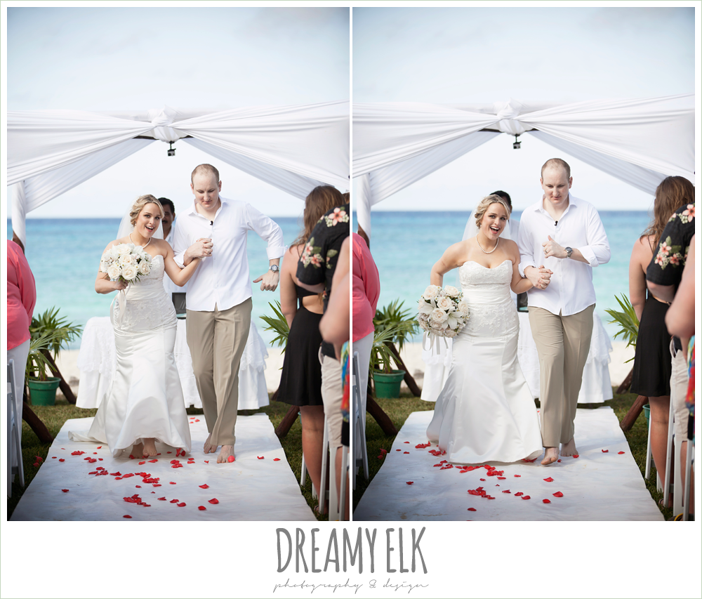 bride and groom dancing down the aisle, outdoor destination wedding, cozumel {dreamy elk photography and design} photo