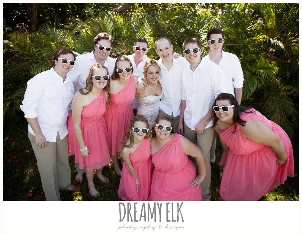 bridal party with sunglasses, pink bridesmaids dresses, groomsmen in white shirts and khakis, destination wedding, cozumel {dreamy elk photography and design} photo