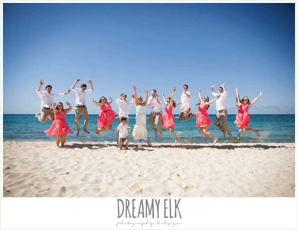 bridal party jumping on the beach, destination wedding, cozumel {dreamy elk photography and design} photo
