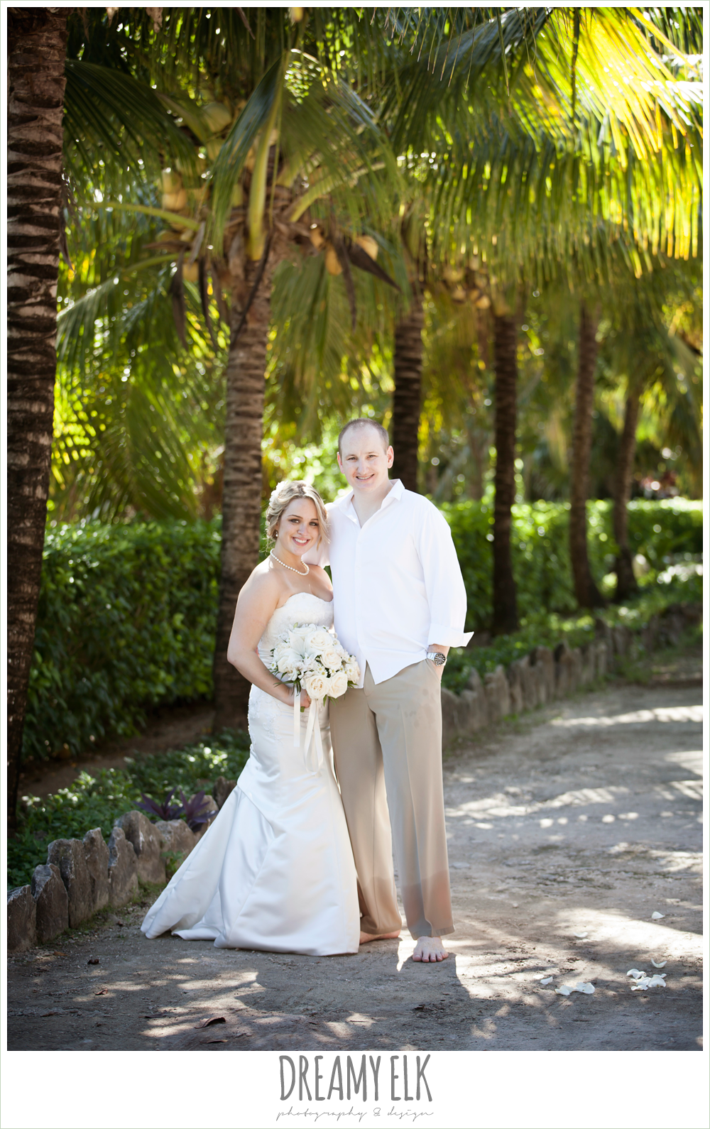 bride and groom, fit and flare strapless wedding dress, groom in white shirt and khaki pants, destination wedding, cozumel {dreamy elk photography and design} photo