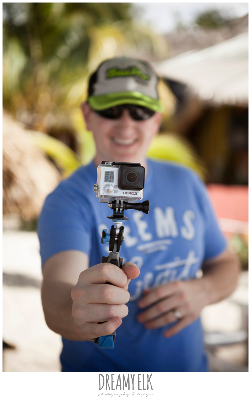 groom with go pro camera, destination wedding, cozumel {dreamy elk photography and design} photo