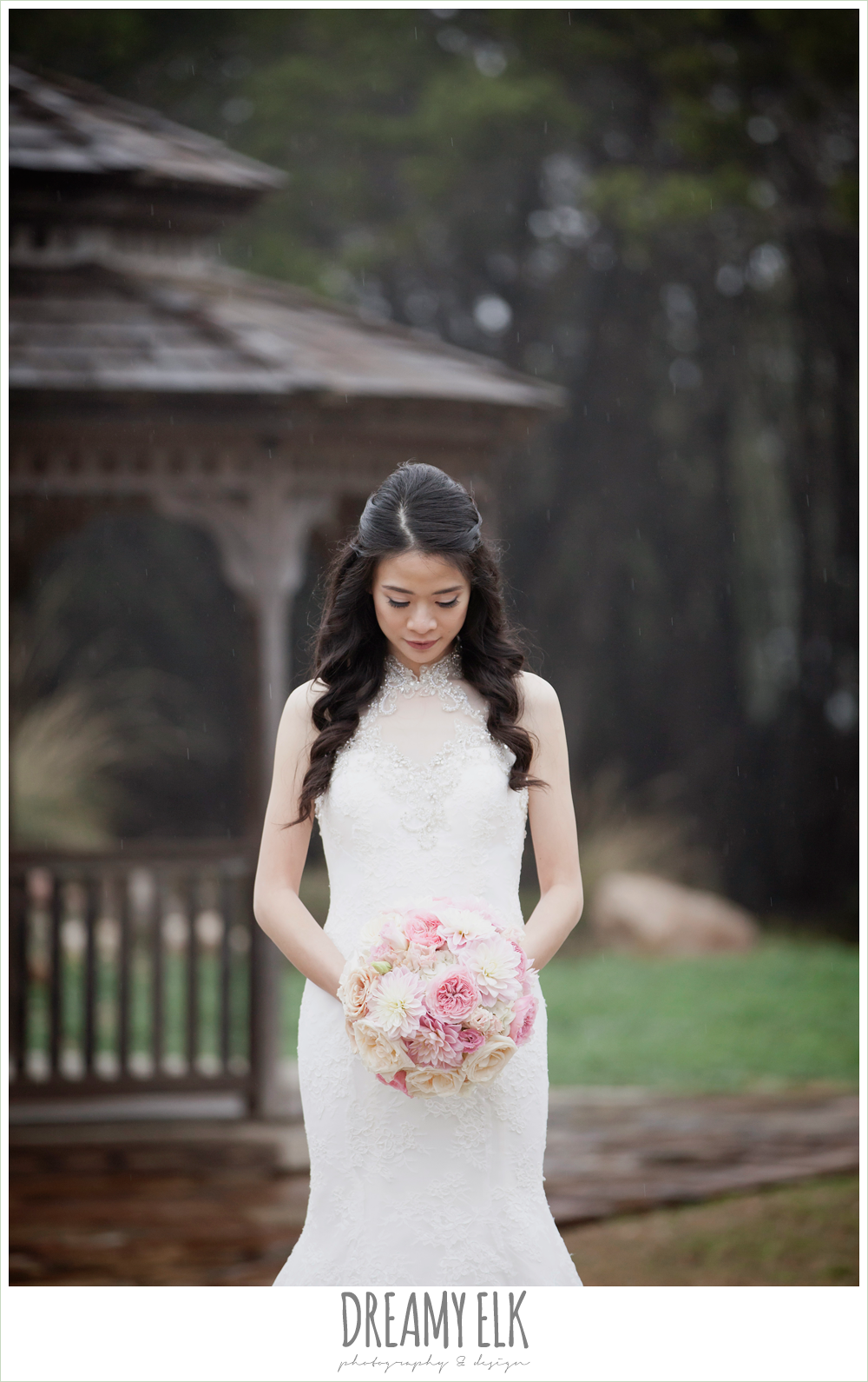 high necked wedding dress, foggy wedding day {dreamy elk photography and design}