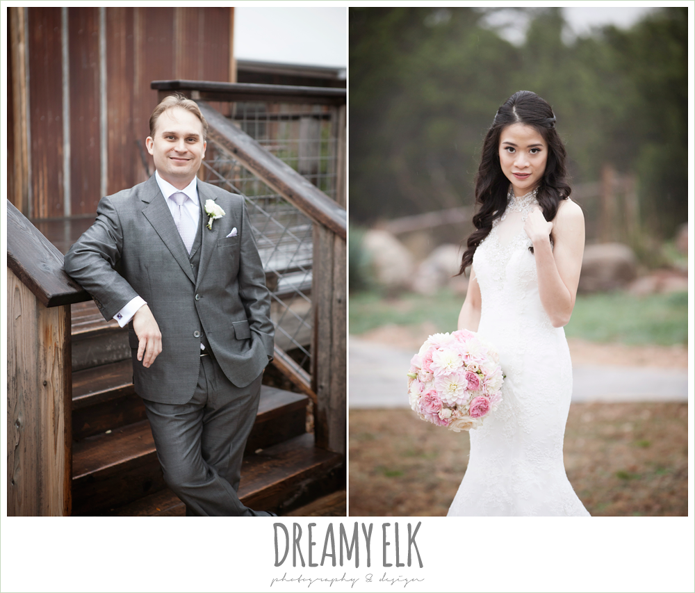groom in gray, high necked wedding dress, foggy wedding day {dreamy elk photography and design}