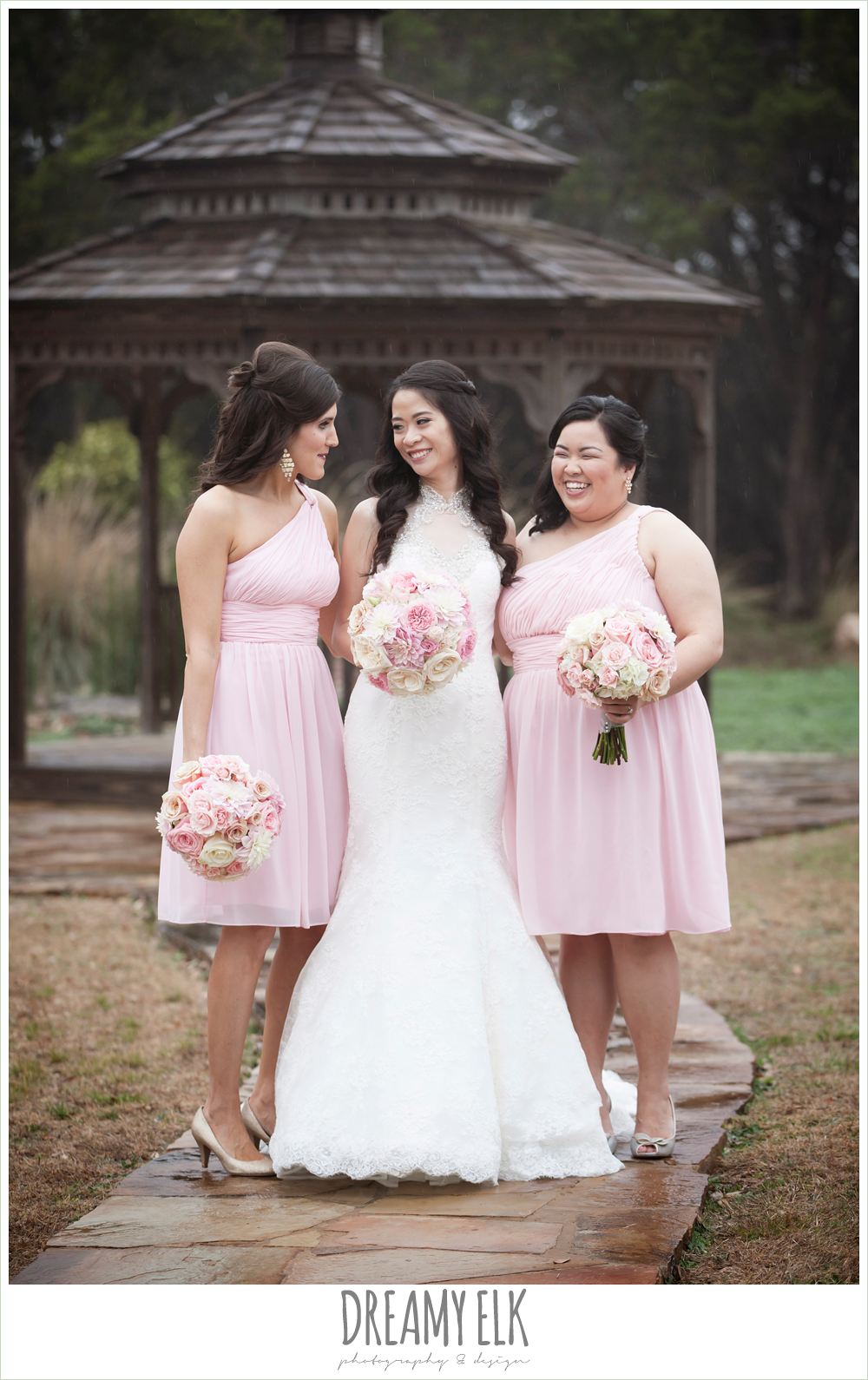 light pink bridesmaids dresses, foggy wedding day {dreamy elk photography and design}