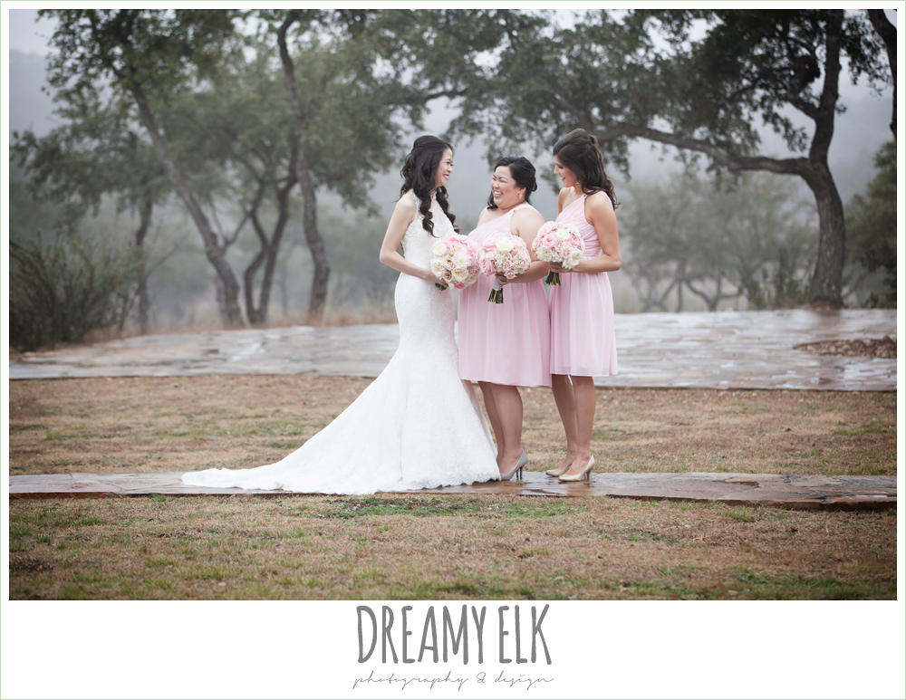 high necked trumpet wedding dress, blush pink bridesmaids dresses, foggy wedding day {dreamy elk photography and design}