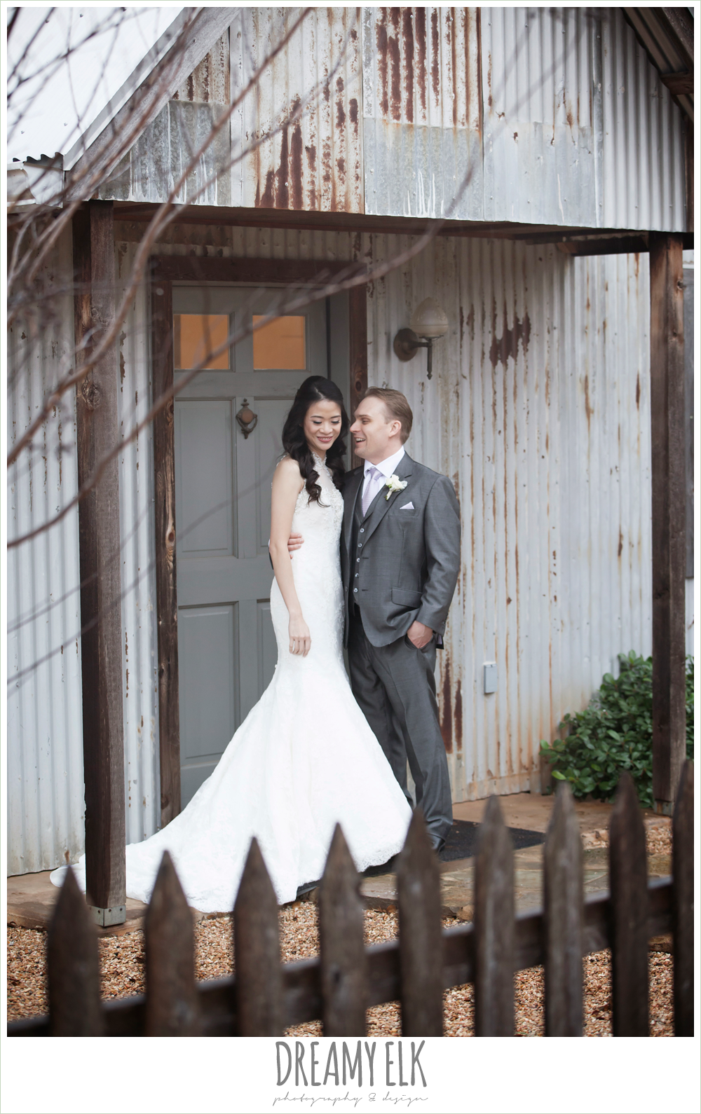 high necked trumpet wedding dress, groom in gray suit, foggy wedding day {dreamy elk photography and design}