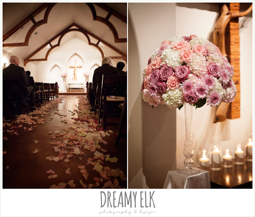 rose petals lining the aisle, pink and purple roses altar flowers, blush pink and purple wedding, indoor winter wedding ceremony {dreamy elk photography and design}
