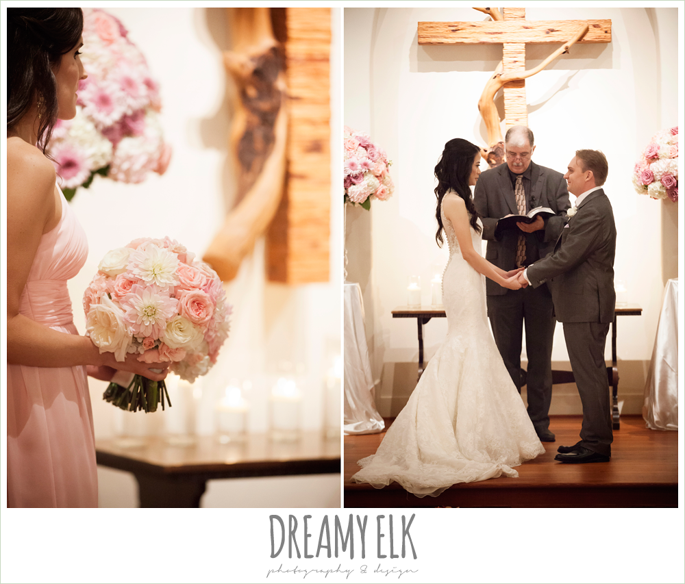 blush pink and purple wedding, indoor winter wedding ceremony {dreamy elk photography and design}