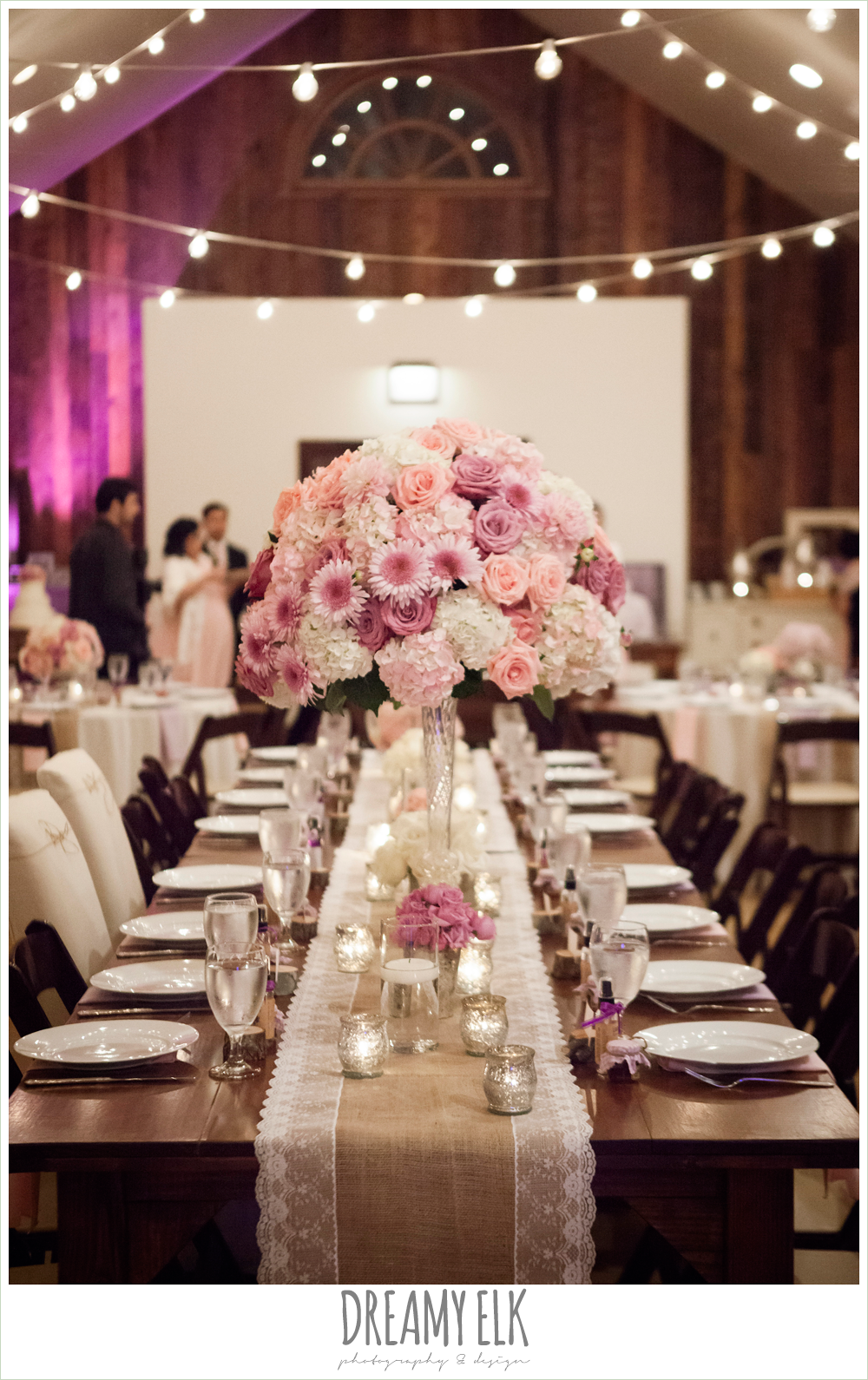 tall blush pink and purple table flower arrangements, burlap and lace table runner, rustic chic wedding {dreamy elk photography and design}