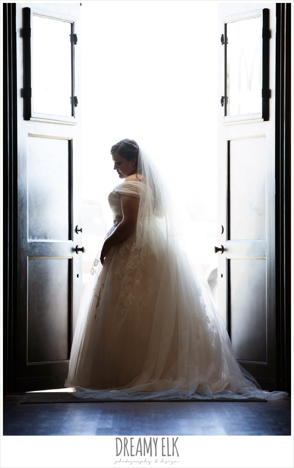 bridal photo in a doorway, belle inspired wedding dress, cathedral length wedding veil {dreamy elk photography and design}