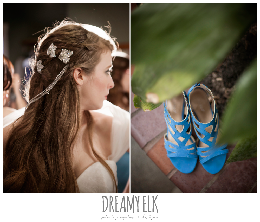 unique wedding hair down, blue wedding shoes, le jardin winter wedding {dreamy elk photography and design}
