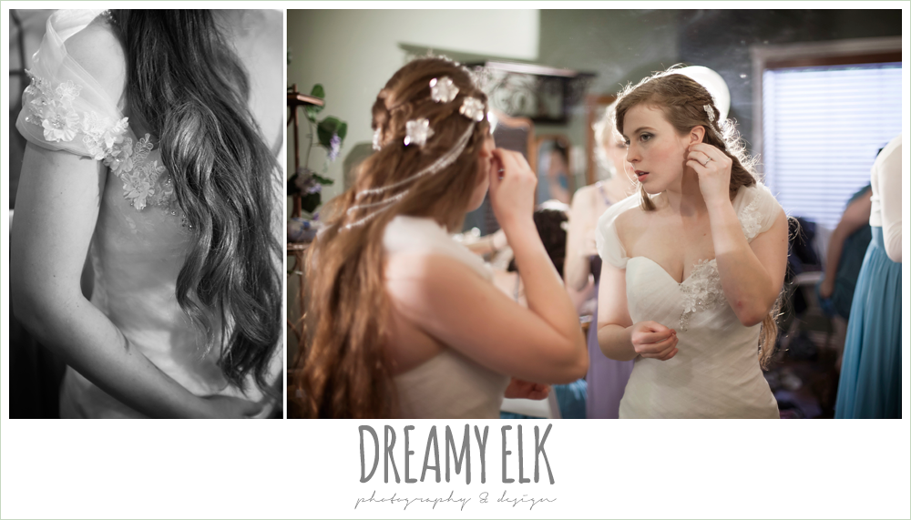 bride getting dressed, off the shoulder wedding dress, unique wedding hair down, le jardin winter wedding {dreamy elk photography and design}