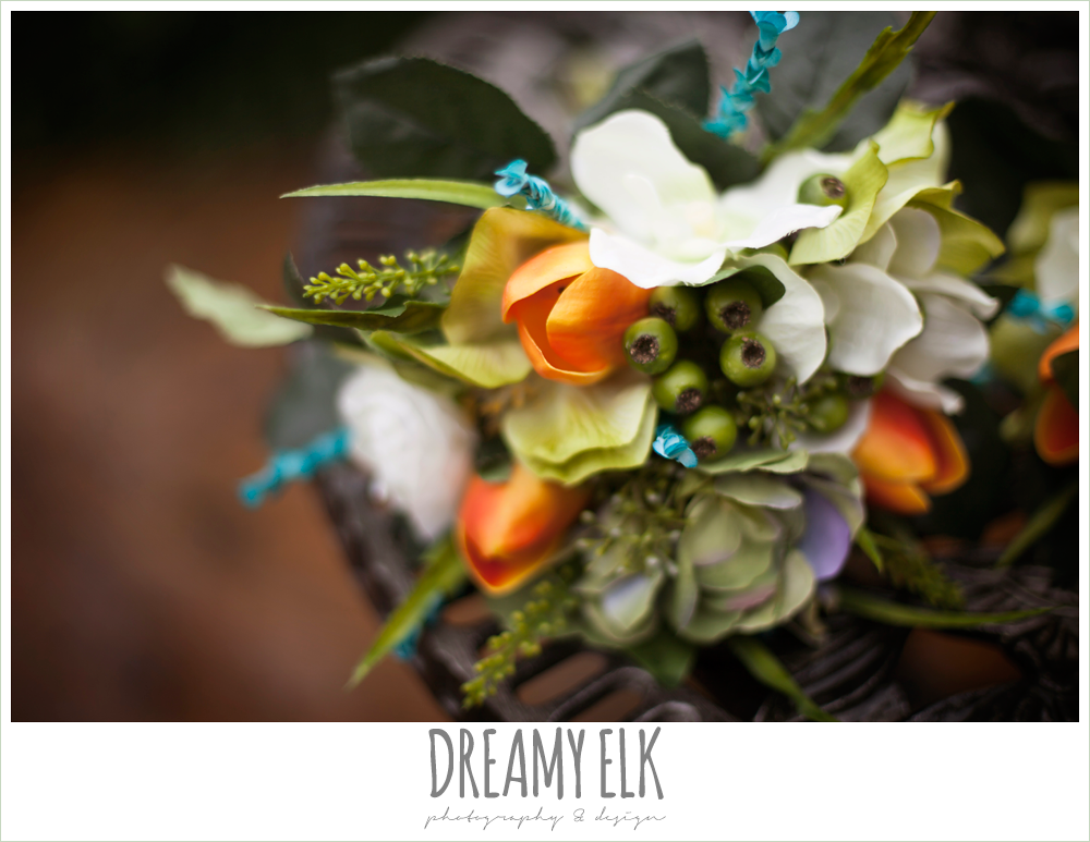 orange blue and green wedding bouquet, fake wedding bouquet, le jardin winter wedding {dreamy elk photography and design}