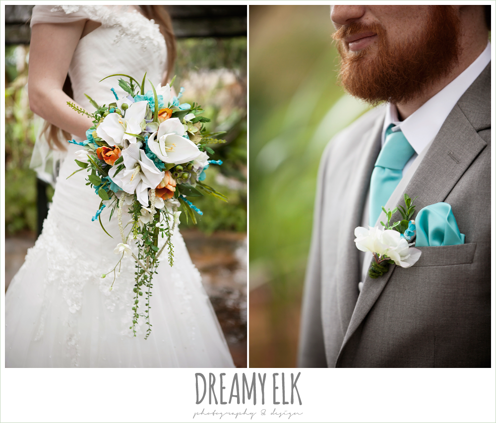 orange blue and green wedding bouquet, groom in gray suit, le jardin winter wedding {dreamy elk photography and design}