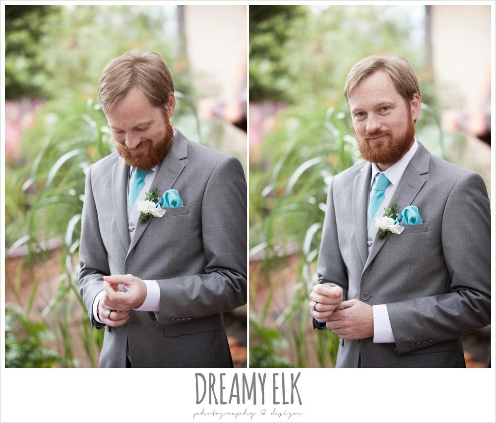 groom in gray suit, pool tie, le jardin winter wedding {dreamy elk photography and design}