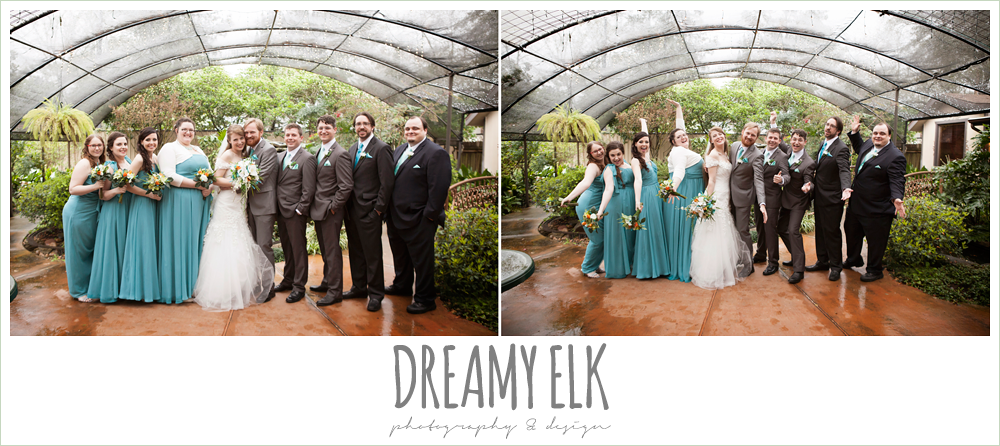 groomsmen in different suits, long pool mix and matched bridesmaids dresses, le jardin winter wedding {dreamy elk photography and design}