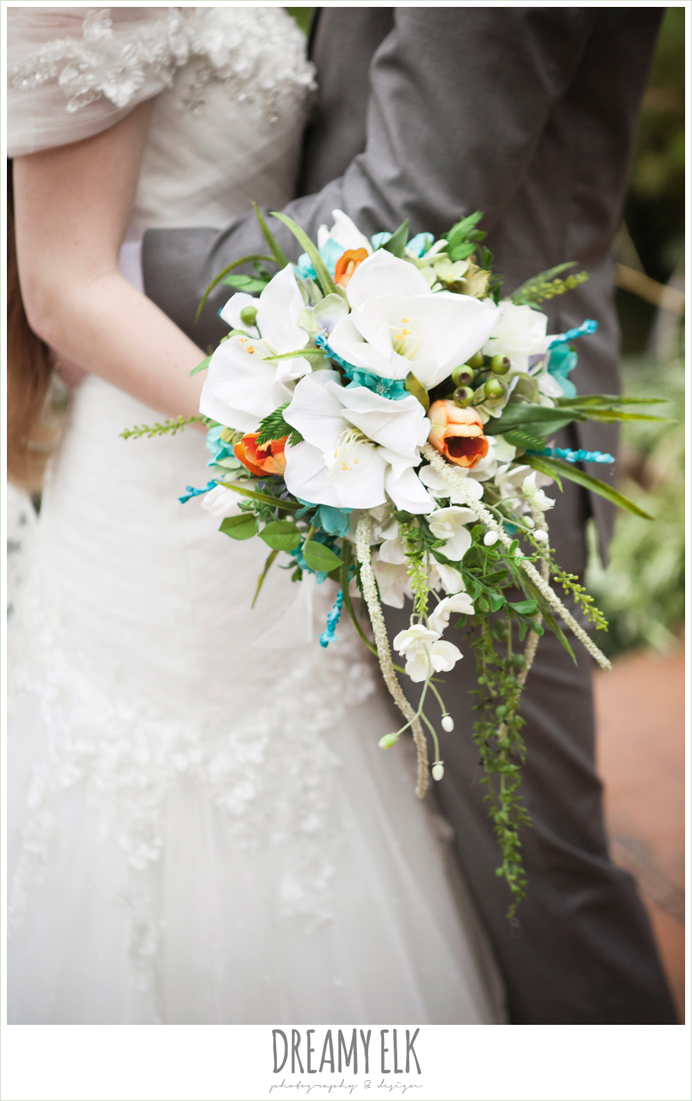 green orange and green wedding bouquet, groom in gray suit, pool tie, off the shoulder mermaid wedding dress, le jardin winter wedding {dreamy elk photography and design}