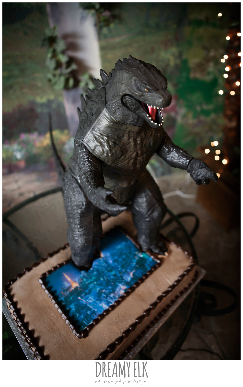 godzilla groom's cake, groom in gray suit, pool tie, off the shoulder mermaid wedding dress, le jardin winter wedding {dreamy elk photography and design}