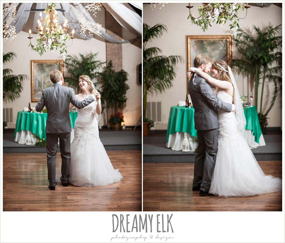 bride and groom's first dance, groom in gray suit, pool tie, off the shoulder mermaid wedding dress, le jardin winter wedding {dreamy elk photography and design}