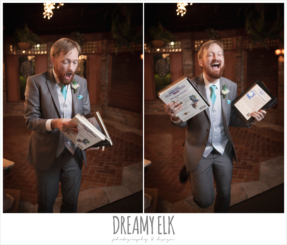 funny wedding photo, groom opening gifts, le jardin winter wedding {dreamy elk photography and design}
