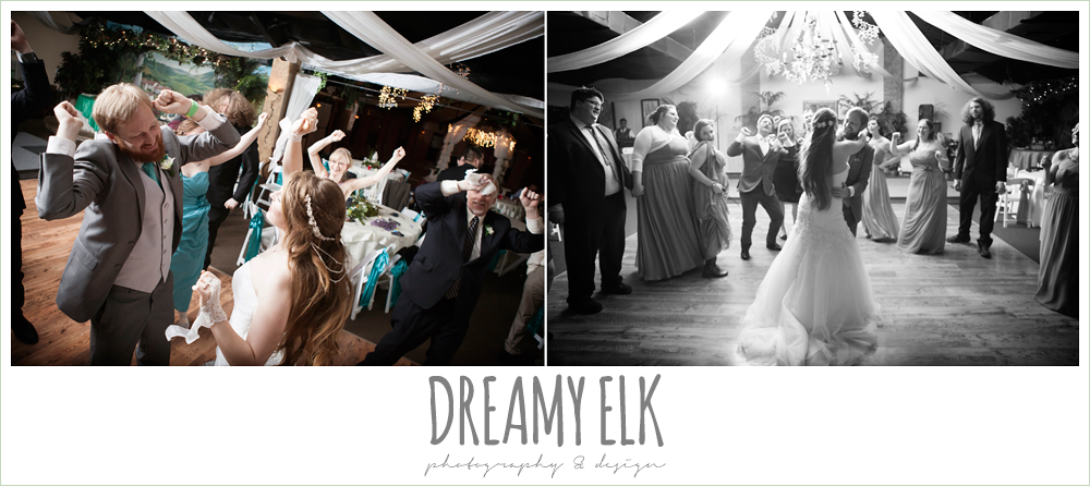 guests dancing at wedding reception, le jardin winter wedding {dreamy elk photography and design}