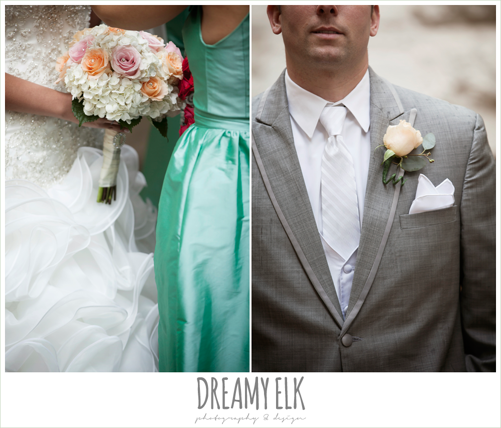 ruffle skirt wedding dress, green bridesmaid dress, downtown austin wedding {dreamy elk photography and design}