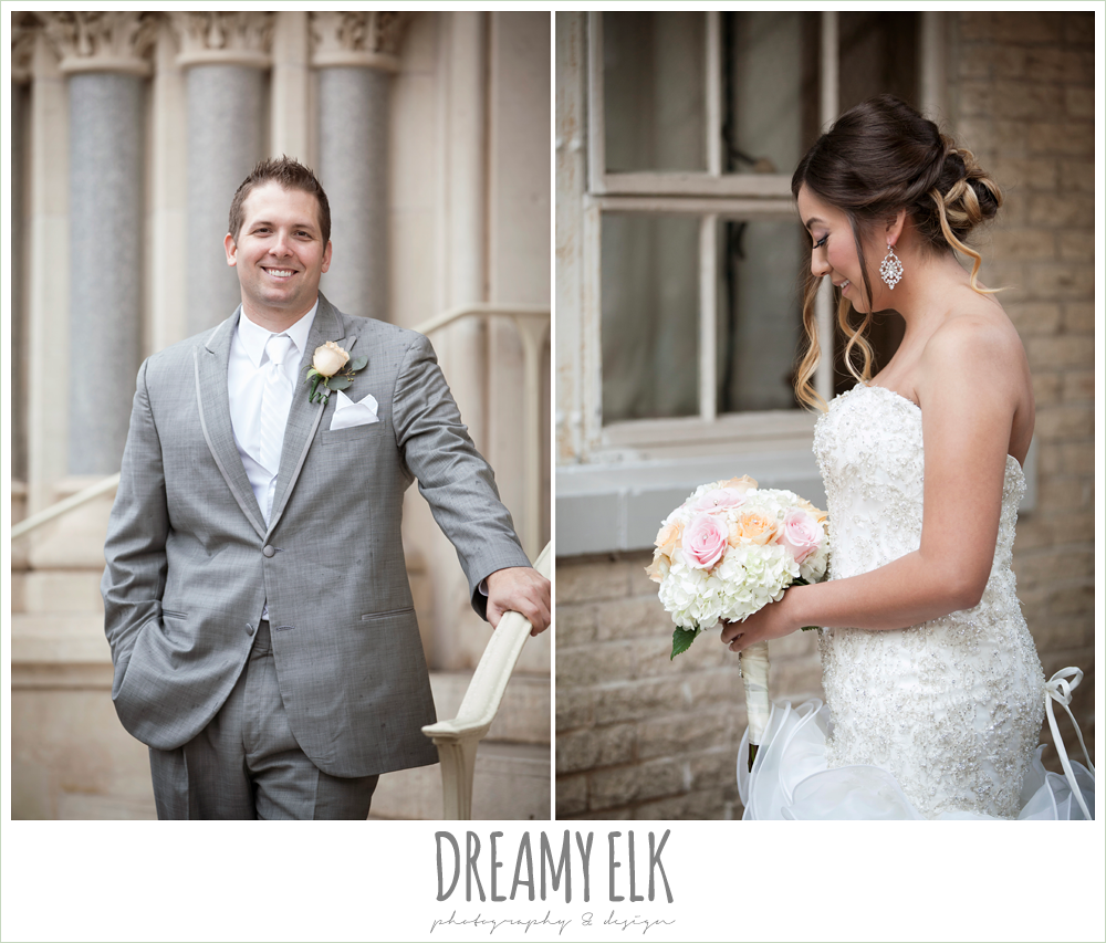 groom in gray suit, sweetheart strapless wedding dress, downtown austin wedding {dreamy elk photography and design}