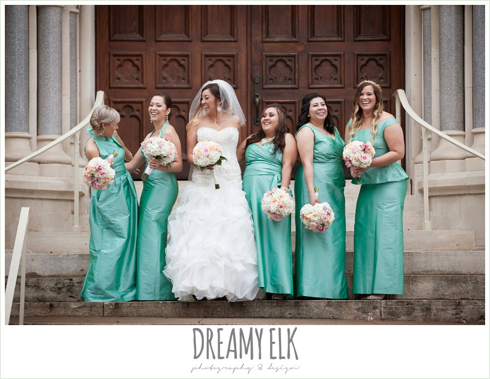 floor length green bridesmaids dresses, sweetheart strapless wedding dress, downtown austin spring wedding {dreamy elk photography and design}