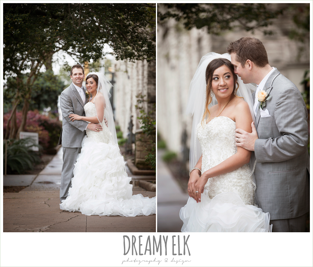 groom in gray suit, sweetheart strapless ruffle skirt wedding dress, downtown austin spring wedding {dreamy elk photography and design}