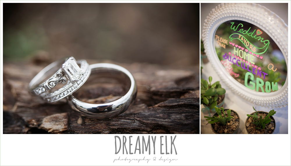 emerald cut diamond engagement ring, wedding bands, succulent wedding favors, austin spring wedding {dreamy elk photography and design}