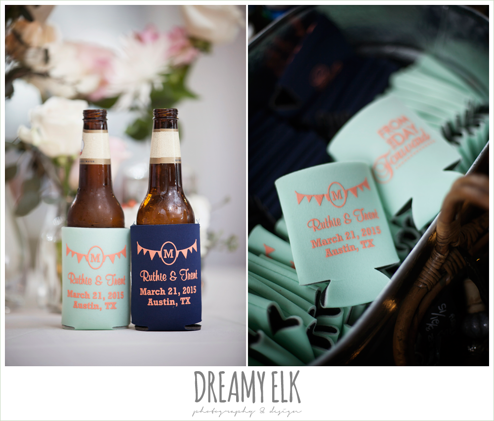 custom wedding koozies, austin spring wedding {dreamy elk photography and design}