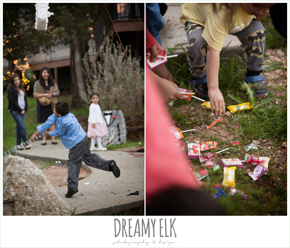kids hitting pinatas at wedding reception, austin spring wedding {dreamy elk photography and design}