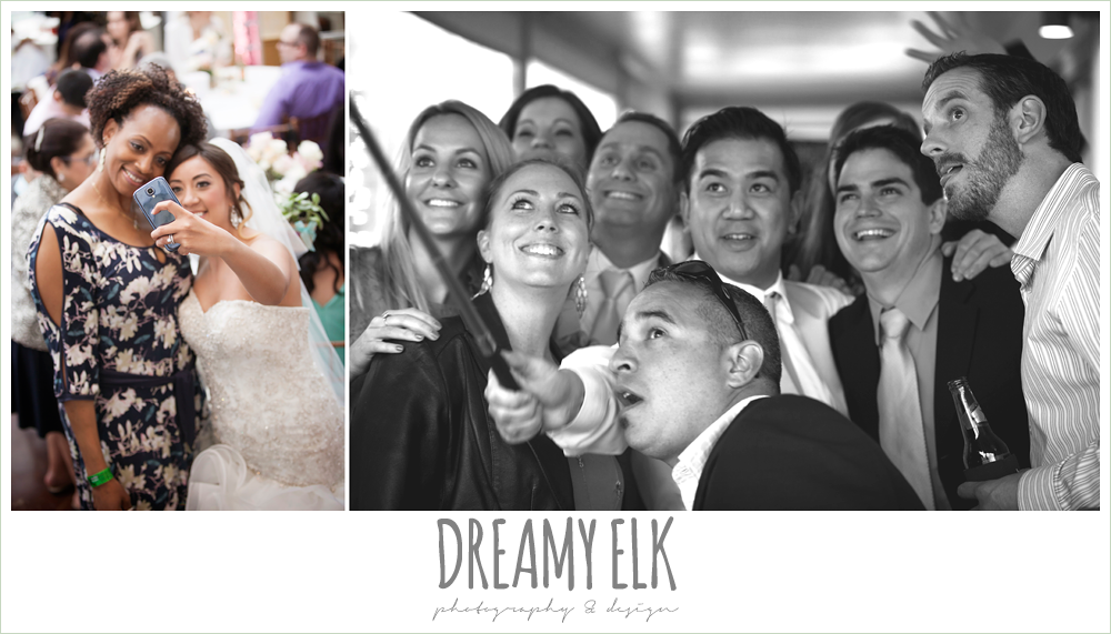 guests taking selfies at wedding reception, austin spring wedding {dreamy elk photography and design}