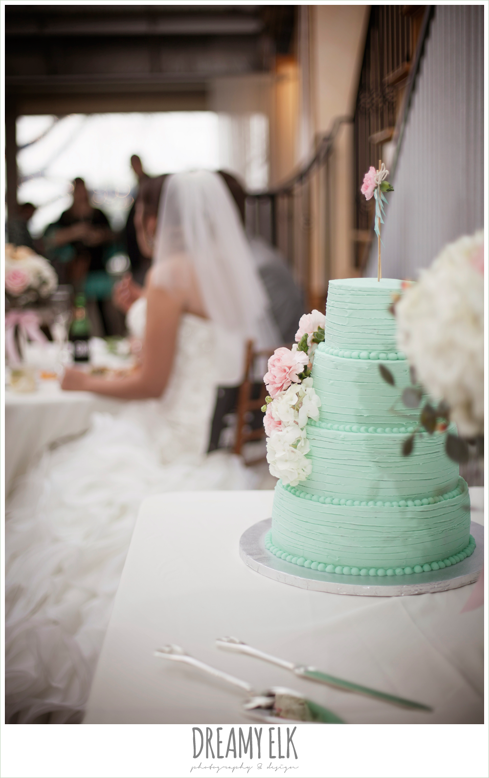 mint green wedding cake, sheila's sweet shoppe, terradorna wedding venue, austin spring wedding {dreamy elk photography and design}