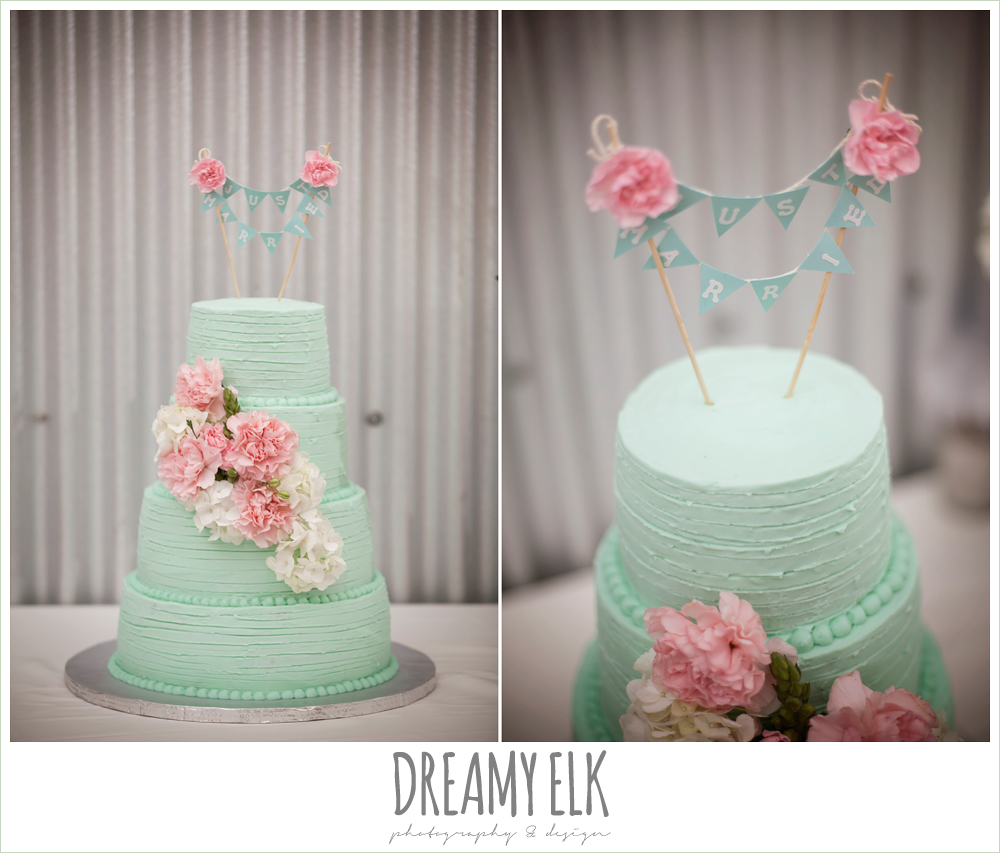 mint green four tier wedding cake, banner cake topper, sheila's sweet shoppe, terradorna wedding venue, austin spring wedding {dreamy elk photography and design}