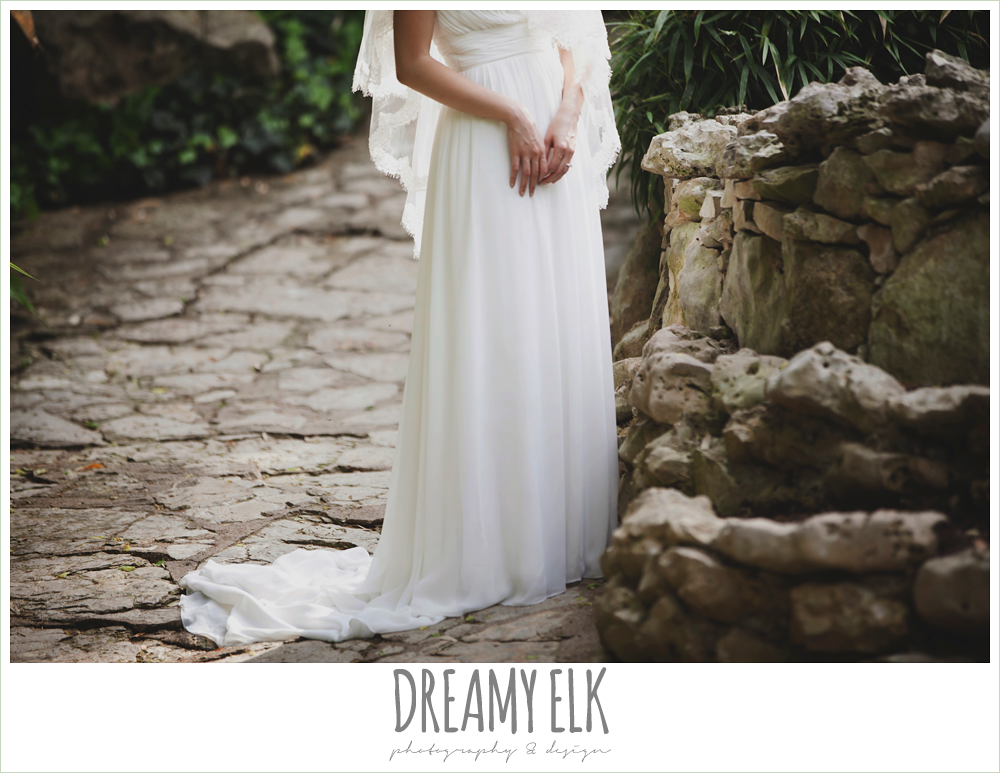 chiffon wedding dress, outdoor spring bridal photo, zilker botanical gardens, austin, texas {dreamy elk photography and design}