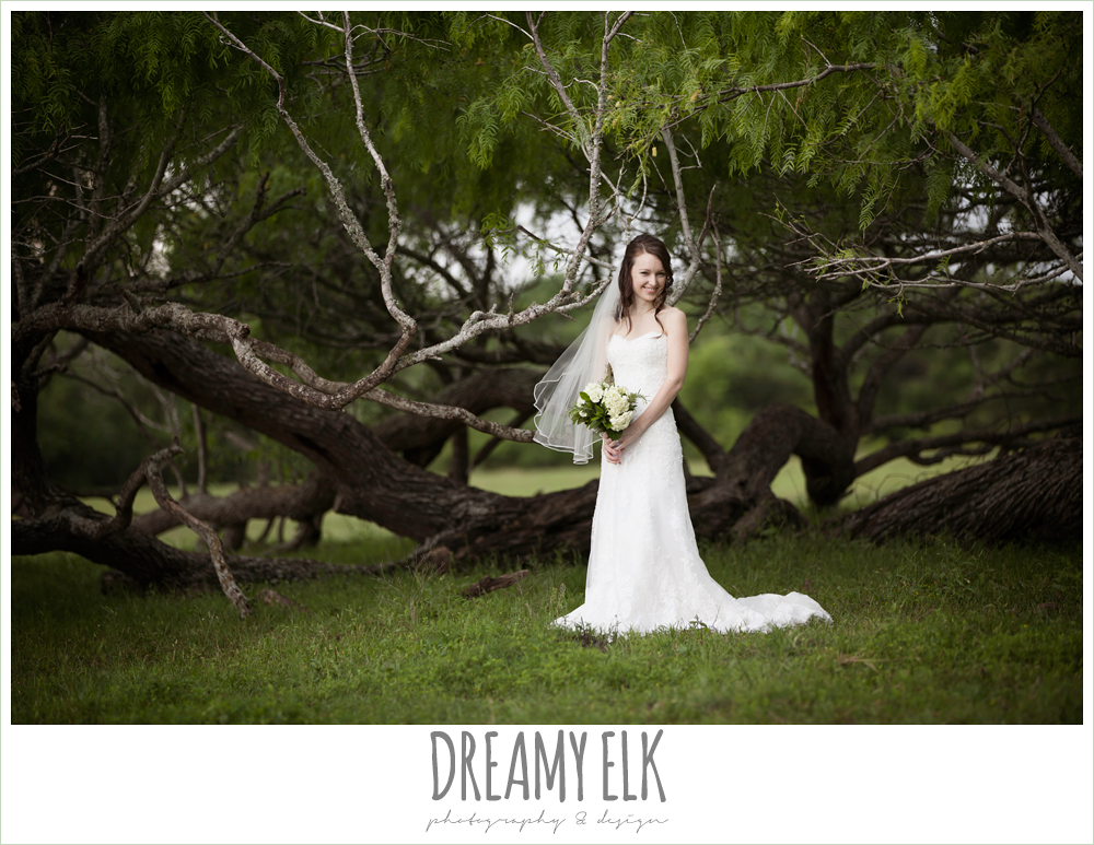 lace sweetheart strapless wedding dress, outdoor rainy day bridal photo {dreamy elk photography and design}