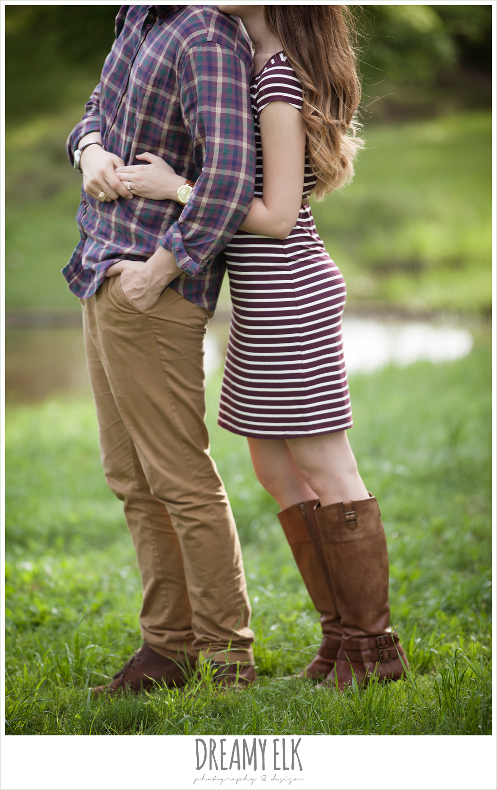 coordinating outfits for engagement photos, girl hugging guy from behind, woodsy engagement photo, research park, college station, texas {dreamy elk photography and design}