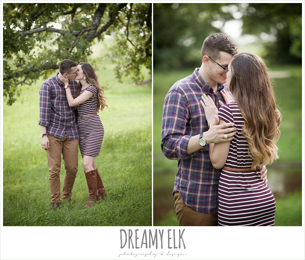 girl and guy kissing, what to wear for engagement photos, woodsy engagement photo, research park, college station, texas {dreamy elk photography and design}