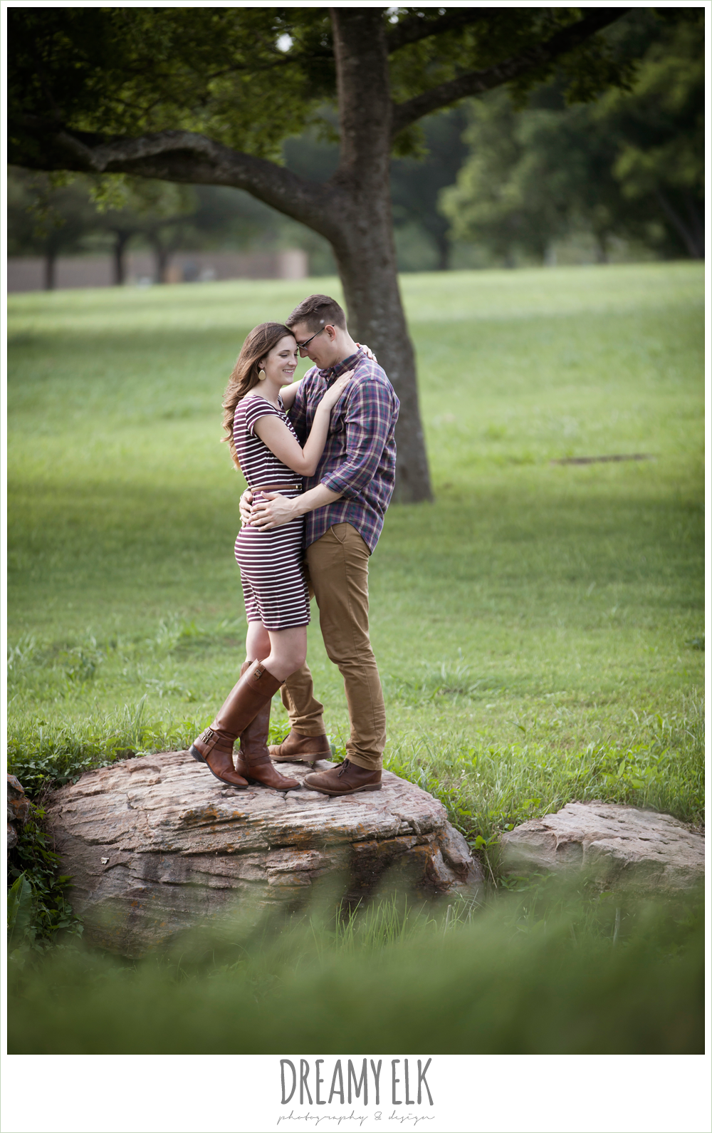 girl and guy hugging, woodsy engagement photo, research park, college station, texas {dreamy elk photography and design}