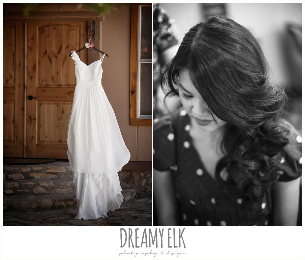 chiffon wedding dress, bride getting hair done, la hacienda, dripping springs, texas {dreamy elk photography and design} photo