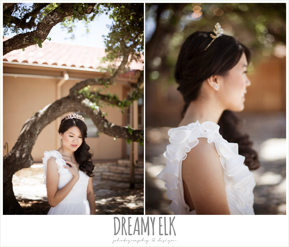 chiffon wedding dress with ruffle sleeve, wedding hair side swept, la hacienda, dripping springs, texas {dreamy elk photography and design} photo